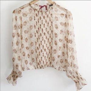 Zara Sheer Floral Long Bell Sleeve Top-Size M EUC